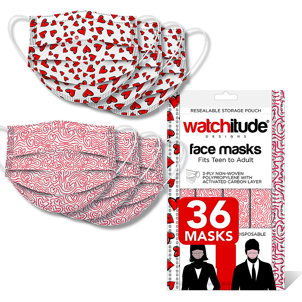 Maze & Hearts - Watchitude Face Masks (36-pack)
