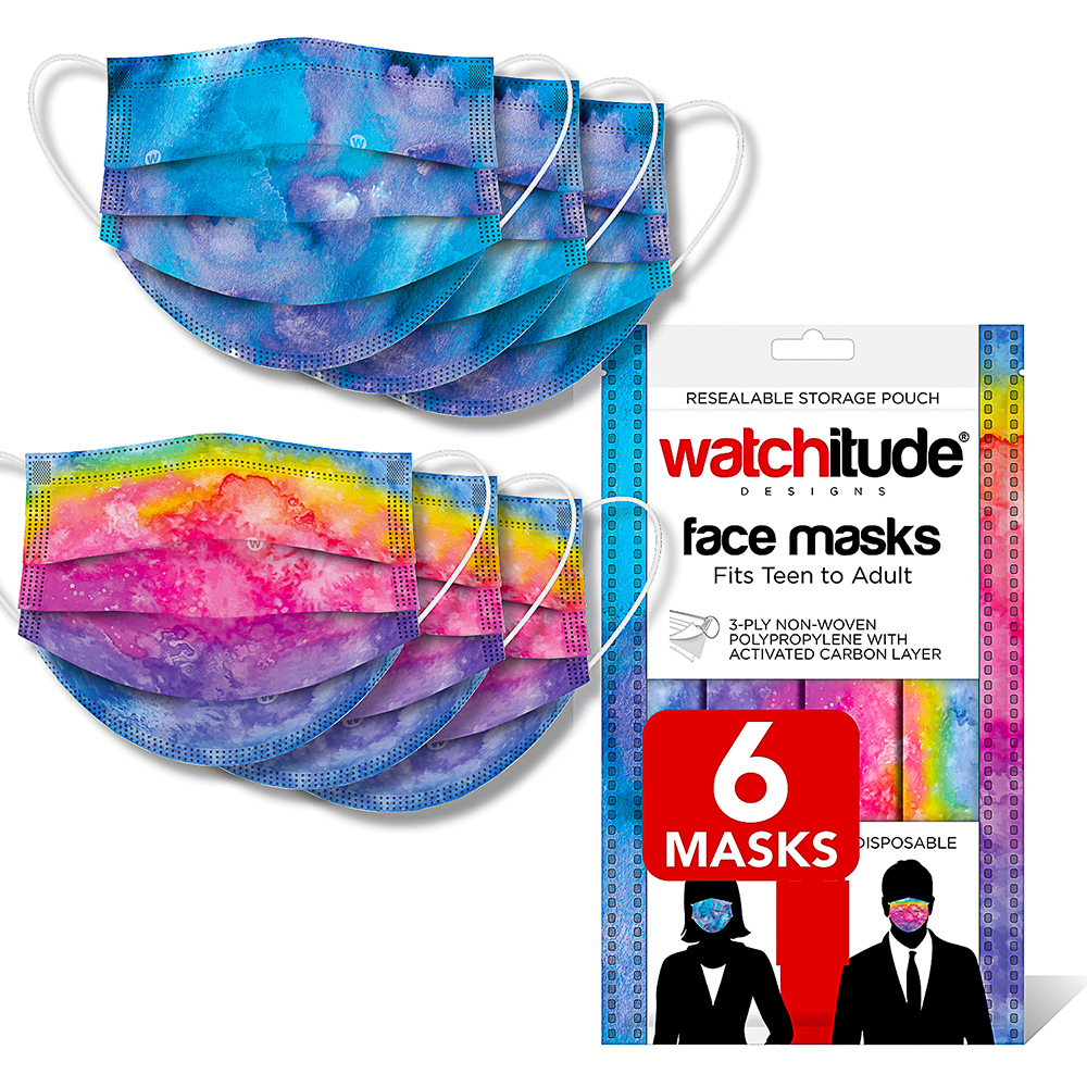 Blue Tie Dye & Rainbow Tie Dye - Watchitude Face Masks (6-pack)