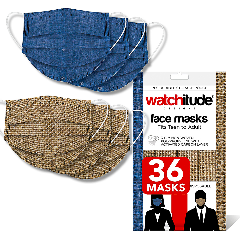 Burlap & Blue Linen - Watchitude Face Masks (36-pack)