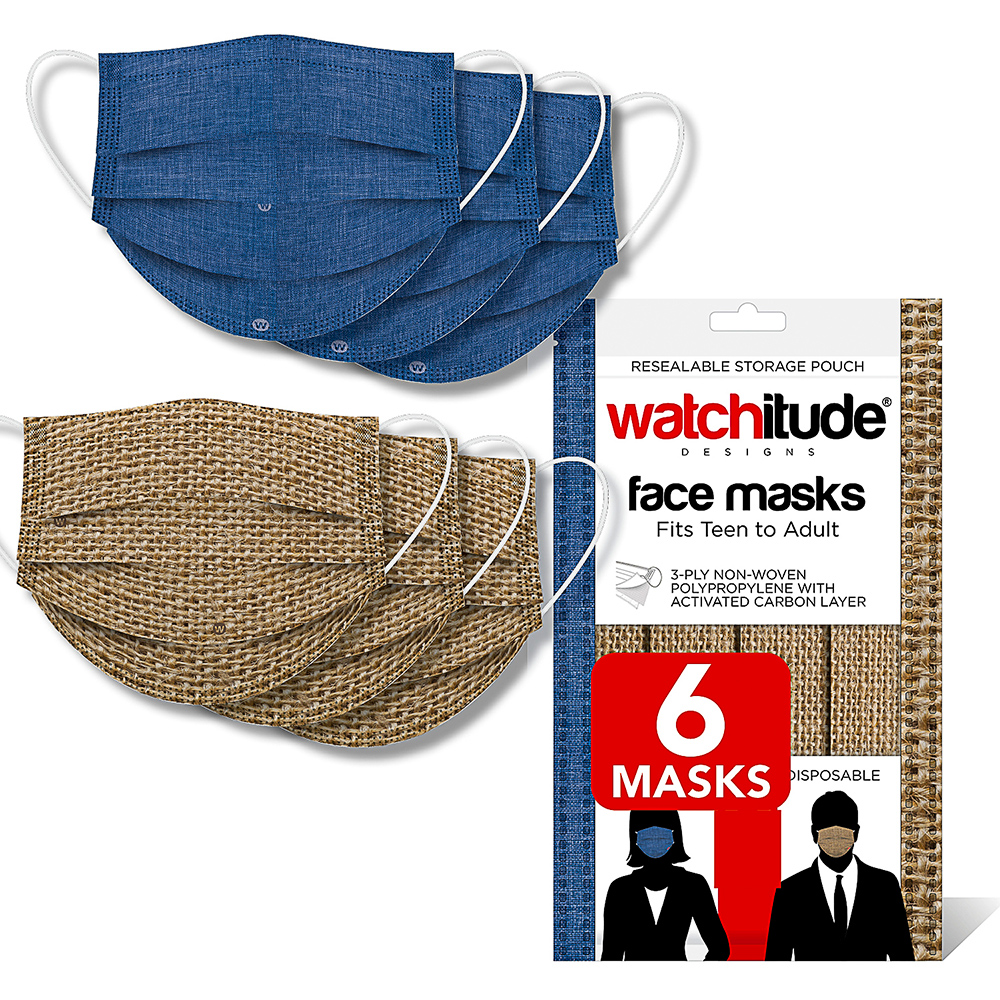 Burlap & Blue Linen - Watchitude Face Masks (6-pack)