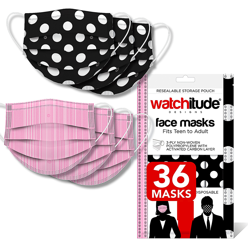 Pink Ribbon & Polka Dots - Watchitude Face Masks (36-pack)