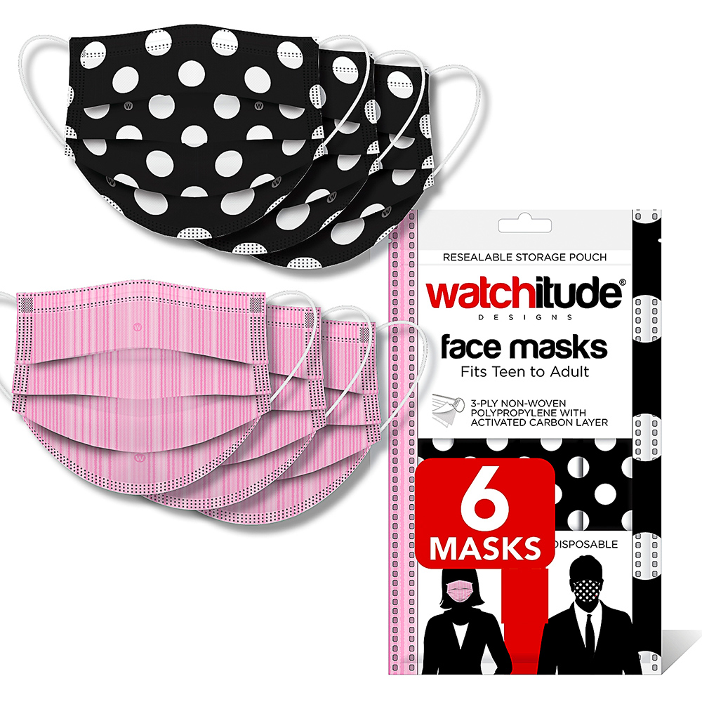 Pink Ribbon & Polka Dots - Watchitude Face Masks (6-pack)