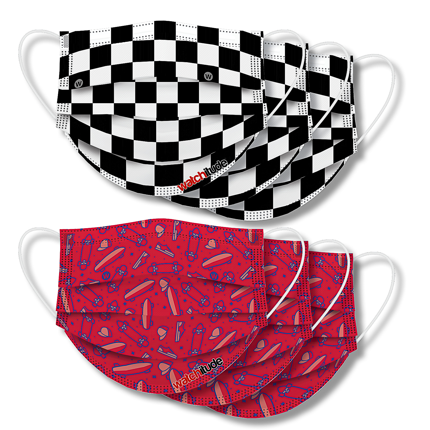 Skater & Checkers - Watchitude Kids Fun Masks (6-pack)