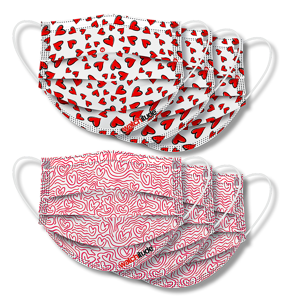 Maze & Hearts - Watchitude Face Masks (6-pack)