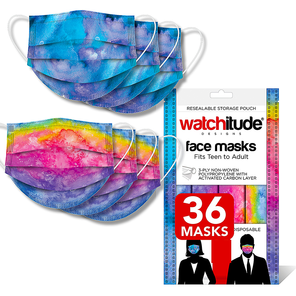 Blue Tie Dye & Rainbow Tie Dye - Watchitude Face Masks (36-pack)