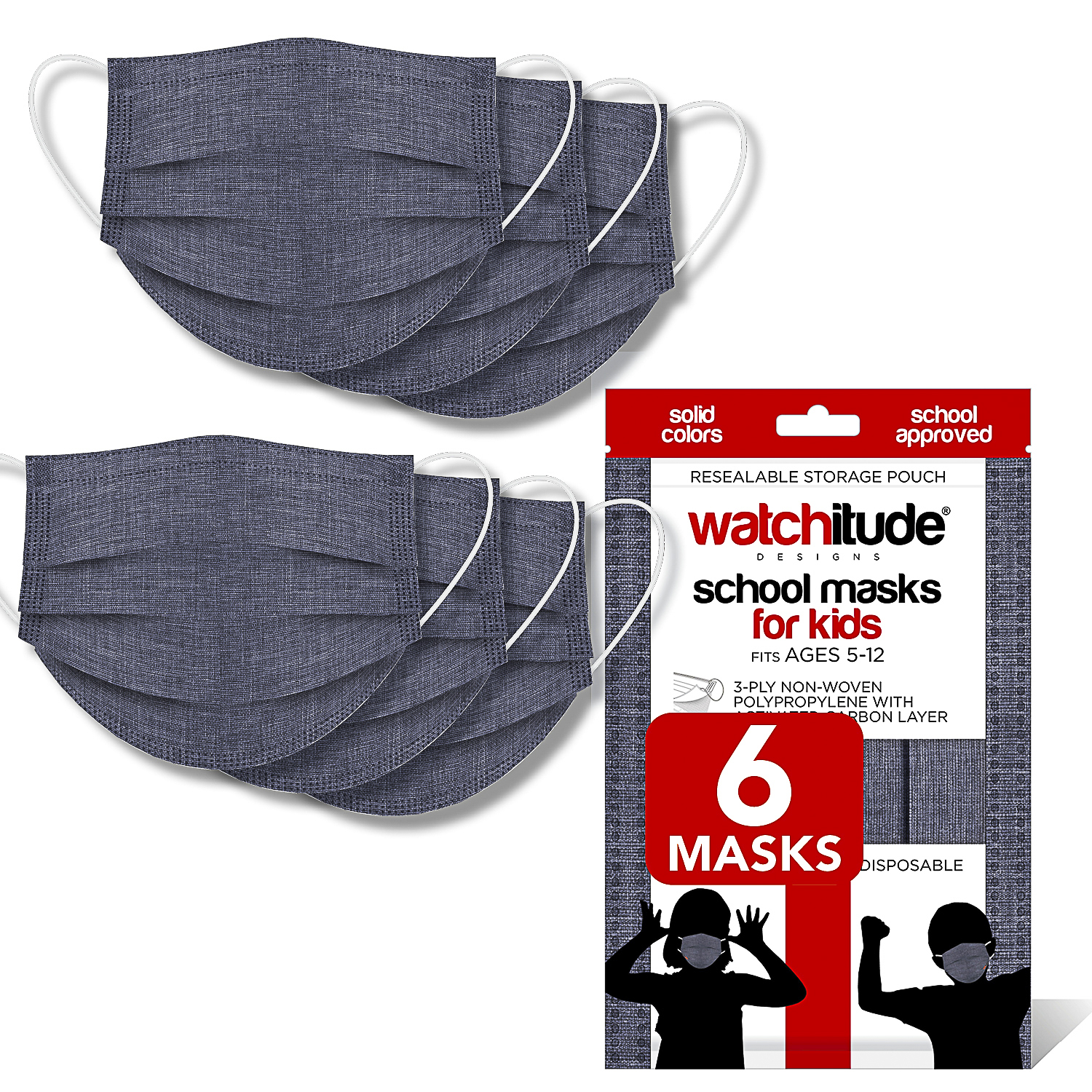Charcoal Gray - Watchitude Kids School Masks (6-pack) - Solid Color - School Approved
